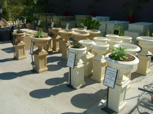 CE_Sand marble urns and pedestals display_WEBSITE