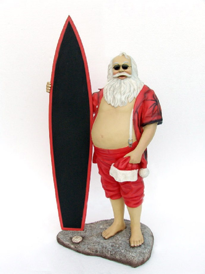 Fibreglass Santa with Surfboard
