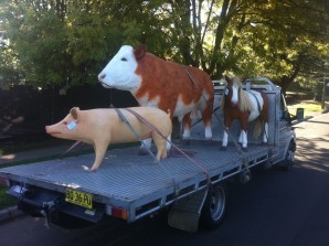 Fibreglass farm animal statues