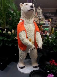 Fibreglass polar bear statue