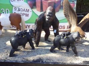 Fibreglass gorilla statues